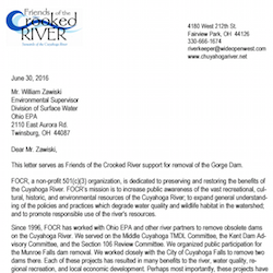 FOCR Letter of Support for the Removal of the Gorge Dam